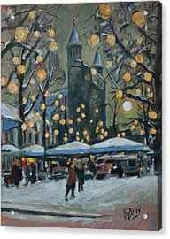 December Lights At The Our Lady Square Maastricht 2 Acrylic Print