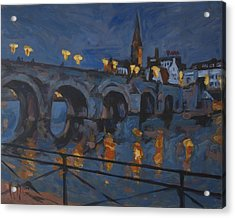 December Lights Old Bridge Maastricht Acryl Acrylic Print by Nop Briex