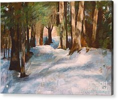 December Snow Path Acrylic Print by Claire Gagnon