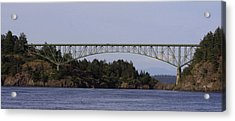 Deception Pass Brige Pano Acrylic Print by Mary Gaines