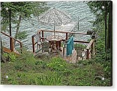 Deck At Blue Sea Lake Acrylic Print by Ginette Thibault