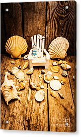 Deckchairs And Seashells Acrylic Print