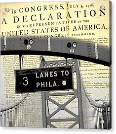 Declaration Of Independence Ben Franklin Bridge Acrylic Print by Brandi Fitzgerald