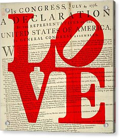 Declaration Of Independence Love Acrylic Print by Brandi Fitzgerald