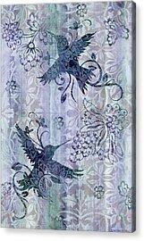 Deco Hummingbird Blue Acrylic Print by JQ Licensing