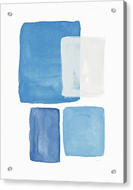 Deconstructed Blue Gingham 2- Art By Linda Woods Acrylic Print