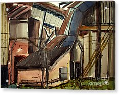 Acrylic Print featuring the painting Deconstruction Coal Fired by Charlie Spear