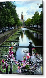 Acrylic Print featuring the photograph Canal And Decorated Bike In The Hague by RicardMN Photography
