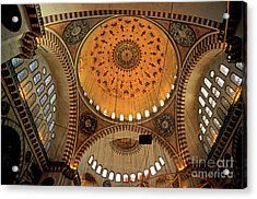 Decorated Dome And Windows Inside The Suleymaniye Mosque In Istanbul Acrylic Print by Sami Sarkis