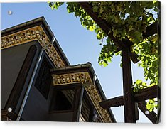 Decorated Eaves And Grapes Trellis - Old Town Plovdiv Bulgaria Acrylic Print by Georgia Mizuleva
