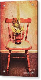 Decorated Flower Bunch On Old Wooden Chair Acrylic Print by Jorgo Photography - Wall Art Gallery