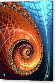 Acrylic Print featuring the digital art Decorative Fractal Spiral Orange Coral Blue by Matthias Hauser