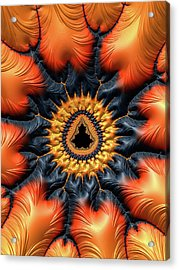 Acrylic Print featuring the digital art Decorative Mandelbrot Set Warm Tones by Matthias Hauser
