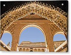 Decorative Moorish Architecture In The Nasrid Palaces At The Alhambra Granada Spain Acrylic Print by Mal Bray