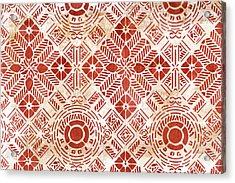 Decorative Vintage Pattern Sanguine Red Acrylic Print by Frank Tschakert