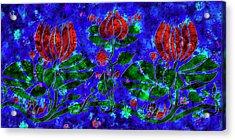 Decorative Water Lilies - Vintage Illustration Digital Painting Acrylic Print