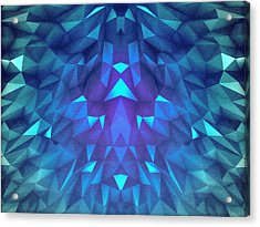 Deep Blue Collosal Low Poly Triangle Pattern  Modern Abstract Cubism  Design Acrylic Print