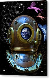 Deep Diver In Delirium Of Blue Dreams Acrylic Print