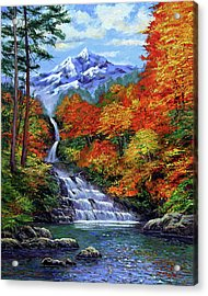 Deep Falls In Autumn Acrylic Print by David Lloyd Glover