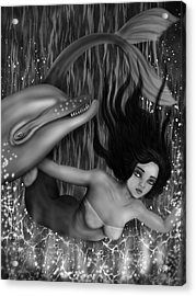 Deep Sea Mermaid - Black And White Fantasy Art Acrylic Print