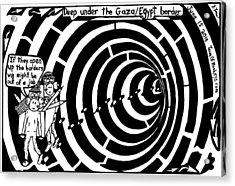 Deep Under The Gaza Border. By Yontan Frimer Acrylic Print by Yonatan Frimer Maze Artist