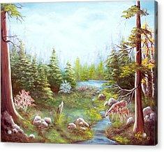 Deer And Stream Acrylic Print