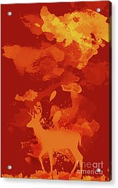 Deer Art Evening Acrylic Print by Prar Kulasekara