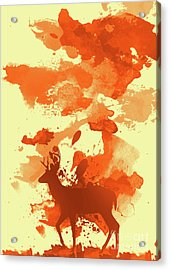 Deer Art Morning Acrylic Print by Prar Kulasekara