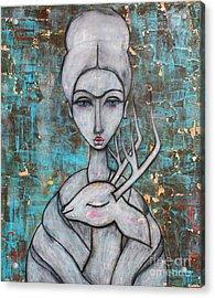 Deer Frida Acrylic Print by Natalie Briney