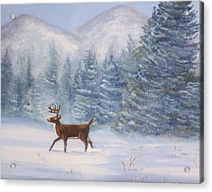 Deer In The Snow Acrylic Print by Denise Fulmer