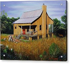 Deer Run Cabin Acrylic Print by Gene Gregory