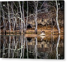 Acrylic Print featuring the photograph Deer Swim by Alan Raasch