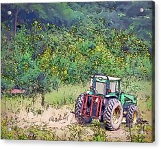 Acrylic Print featuring the photograph Deere In The Wildflowers - Line And Ink Art by Kerri Farley