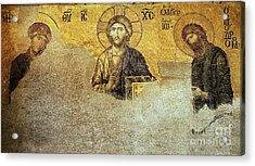 Deesis Mosaic Hagia Sophia-christ Pantocrator-judgement Day Acrylic Print by Urft Valley Art