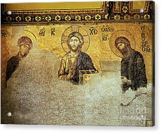 Deesis Mosaic Hagia Sophia-christ Pantocrator-the Last Judgement Acrylic Print by Urft Valley Art