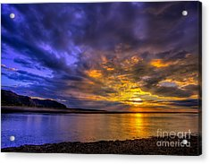 Deganwy Sunset Acrylic Print by Adrian Evans