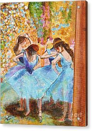 Degas Dancers In Blue Acrylic Print by Pauline Ross