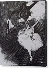 Degas' L'etoile In Scratchboard Acrylic Print by Becky Chappell