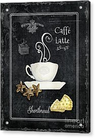 Acrylic Print featuring the painting Deja Brew Chalkboard Coffee 2 Caffe Latte Shortbread Chocolate Cookies by Audrey Jeanne Roberts