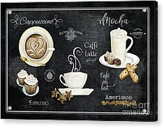 Acrylic Print featuring the painting Deja Brew Chalkboard Coffee Cappuccino Mocha Caffe Latte by Audrey Jeanne Roberts