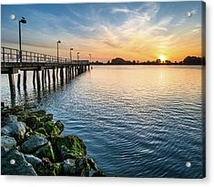 Del Norte Pier And Spring Sunset Acrylic Print by Greg Nyquist