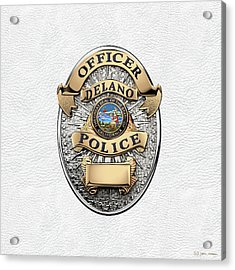 Delano Police Department - Officer Badge Over White Leather Acrylic Print by Serge Averbukh