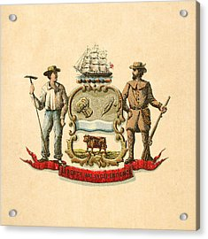Delaware Historical Coat Of Arms Circa 1876 Acrylic Print by Serge Averbukh