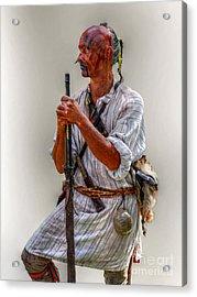 Delaware Indian Warrior Portrait 1763 Acrylic Print by Randy Steele
