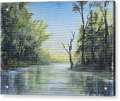 Acrylic Print featuring the painting Delaware River  by Katalin Luczay