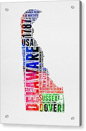 Delaware Watercolor Word Cloud  Acrylic Print