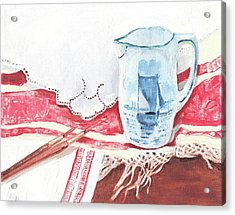 Delft And Linens Acrylic Print by Kathryn B
