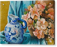 Acrylic Print featuring the painting Delft Pitcher With Flowers by Marlene Book