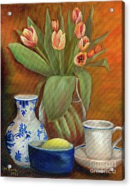 Delft Vase And Mini Tulips Acrylic Print by Marlene Book