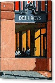 Deli Boys - Cafe Acrylic Print by Linda Apple
